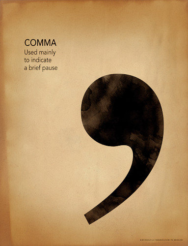 Comma Grammar, Punctuation and Writing Poster
