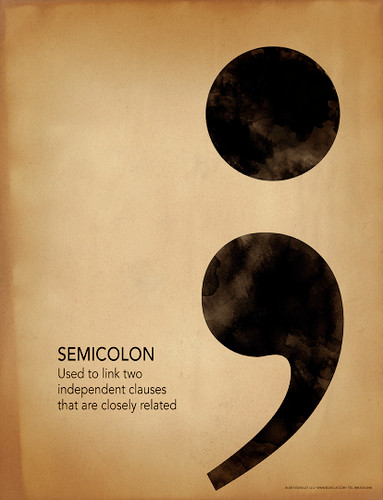 Semicolon Grammar, Punctuation and Writing Poster