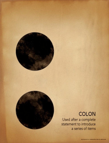 Colon Grammar, Punctuation and Writing Poster