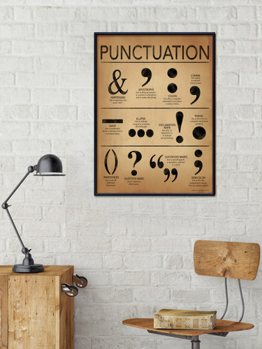 Punctuation Grammar and Writing Poster For Home, Office or Classroom. Typography Art Print.
