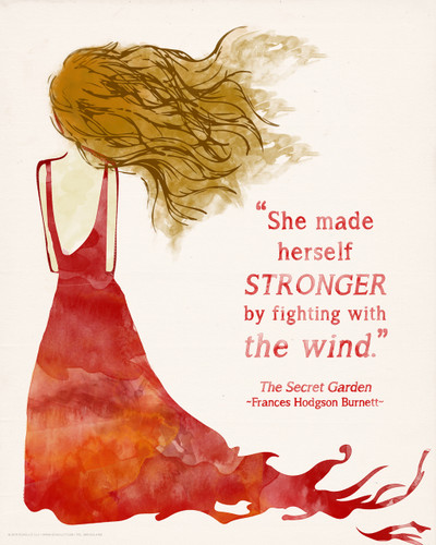 She Made Herself Stronger, Secret Garden Children's Literature Inspirational Quote Poster