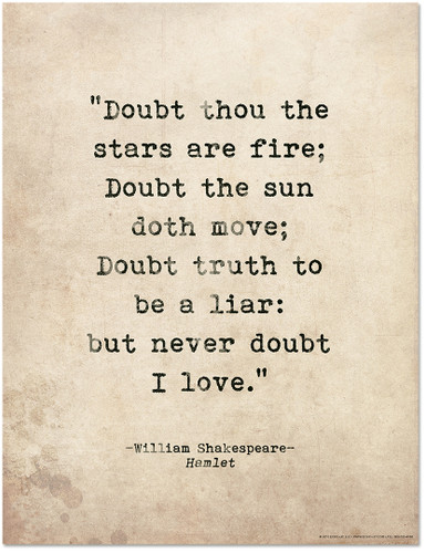 Romantic Quote Poster - Hamlet by William Shakespeare Literary Print for Home or School