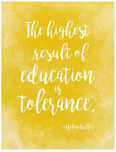Tolerance - Helen Keller Diversity Quote Poster. Fine Art Print For Classroom, Library, Home or Dorm