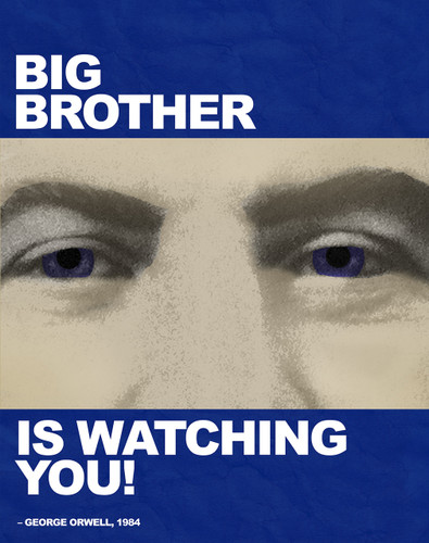 Big Brother is Watching You! - Nineteen Eighty Four, George Orwell Quote Poster