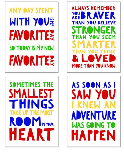 Winnie the Pooh by A. A. Milne Set of Four Fine Art Prints For Classroom, Library, Home or Nursery