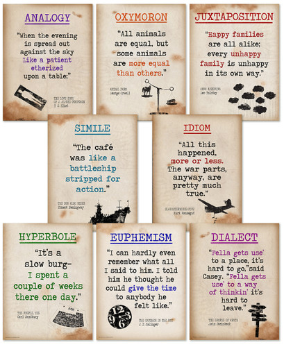 Literary Terms II Quote Poster Set of Eight featuring Analogy, Oxymoron, Juxtaposition, Simile, Idiom, Hyperbole, Euphemism and Dialect. Educational Art Prints