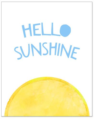 Hello Sunshine - Uplifting Fine Art Print for Classroom, Nursery, Home, or Dorm.