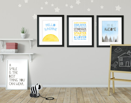 Uplifting Quote Set of Four Fine Art Prints For Classroom, Library, Home or Nursery