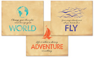 World, Fly, Adventure Inspirational Quote Poster Set