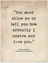 Romantic Quote Poster - Pride and Prejudice by Jane Austen Literary Print for Home or School