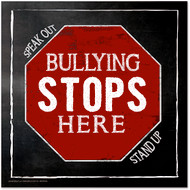 Bullying Stops Here Inspirational Chalkboard Style Quote Poster