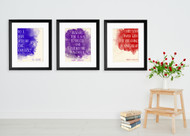 Powerful Inspirational Watercolor Art Print Set Featuring Writers William Wordsworth, Mary Shelley, and T.S. Eliot