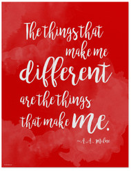 Different - A.A. Milne Diversity Quote Poster. Fine Art Print For Classroom, Library, Home or Dorm