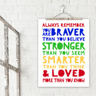 Loved More Than You Know A. A. Milne Fine Art Print For Classroom, Library, Home or Nursery