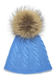 Kids Cable Knit Beanie with Pom Pom