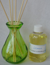 lime green jar with bottle of fragrance