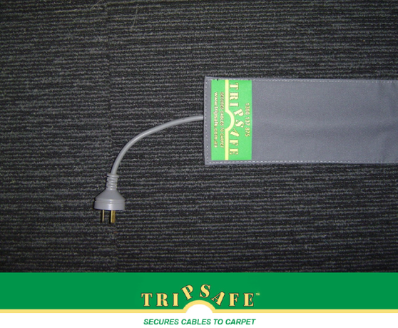 tripsafe velcro carpet cable cover 11cm x grey safety cord protectors cable holders. Black Bedroom Furniture Sets. Home Design Ideas