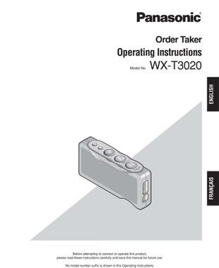 panasonic attune wx t3020 ot order taker belt pack operating rh panasonicorder com Verizon Cell Phone Manual Samsung Phone Manuals
