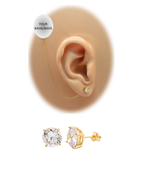CZ Stud Earring (5 mm) - Clear - 14K Gold-Filled Chain