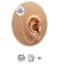 CZ Stud Earring (5 mm) - 14K White Gold (for BAHAs)