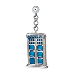2D Tardis (Enamel) with 4 mm Sterling Silver Ball Post Earring (for CIs)