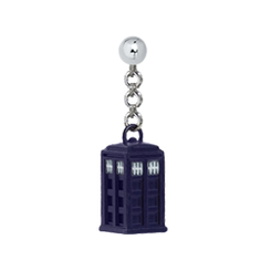 3D Tardis (Enamel) with 4 mm Sterling Silver Ball Post Earring (for CIs)
