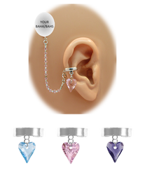 """Solid Band - 1/8"" Ear Cuff"" with Swarovski Crystal Heart - Swarovski Crystal Chain (for BAHAs)"