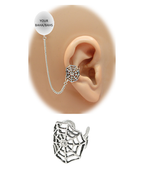 """Spider Web"" Ear Cuff - Sterling Silver (for BAHAs)"