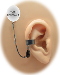 """""""Black Solid Band - 3/16"""" Ear Cuff"""" with Swarovski Crystal Teardrop - Halloween Edition"""