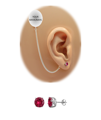 CZ Stud Earring (5 mm) - Ruby - Sterling Silver Chain