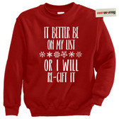Christmas XMAS List Re-gifting Re-gift Tacky Sweater Sweatshirt
