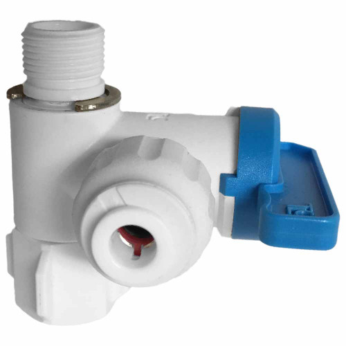 """3/8"""" Angle Stop Adapter Ball Valve with 1/4"""" Quick Connect Fitting - Reverse For Osmosis & Drinking Water Filters"""