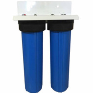 20-inch 2 Stage Big Blue Whole House Filter with Bone Char Carbon and Radial Flow Carbon Filters - Reduces or Removes Fluoride, Radioactive Particles, and Toxic Metals