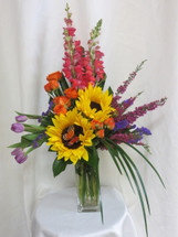 Bright Horizons Sunflowers Tulips and Roses Bouquet by Enchanted Florist Pasadena TX - Daily delivery in Houston Texas, Clear Lake, Webster, and surrounding areas  RM120