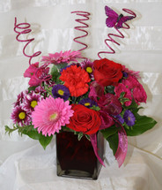 Pink Spadoodle Fun Red Rose and Pink Butterfly Bouquet by Enchanted Florist Pasadena TX - Deliver fun get well flowers in Pasadena Texas, Houston, Deer Park and surrounding areas. Get well flowers in Pasadena TX. RM128