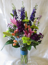 Tiffany Purple Lily Flower Arrangement by Enchanted Florist Deer Park Flowers delivered today in classic all white. Daily delivery in Pasadena, Houston, Deer Park Texas and surrounding areas. We deliver flowers daily to all of Deer Park Texas RM148