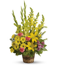 Vivid Memories Sympathy Flowers by Enchanted Florist Pasadena TX. Sympathy flowers in a funeral basket with yellow gladiolas, yellow snap dragons, yellow lilies, and pink carnations. Order flowers online for same day delivery in sympathy flowers in Houston TX. RM529