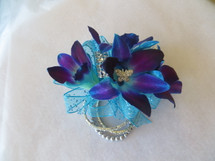 Blue Orchid Corsage Prom Flowers by Enchanted Florist Pasadena TX.  PROM105