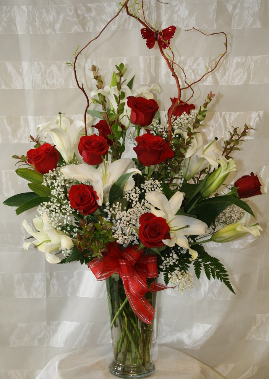 Beautiful red rose arrangement for same day delivery in
