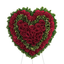 "Majestic Red Rose Sympathy Heart Funeral Flowers by Enchanted Florist Pasadena TX. A majestic all red rose and red carnation spray of funeral flowers in the shape of a heart and on an easel stand. Approx 21""H x 21""W (size doesn't not include stand) Sympathy floral delivery.  RM533"