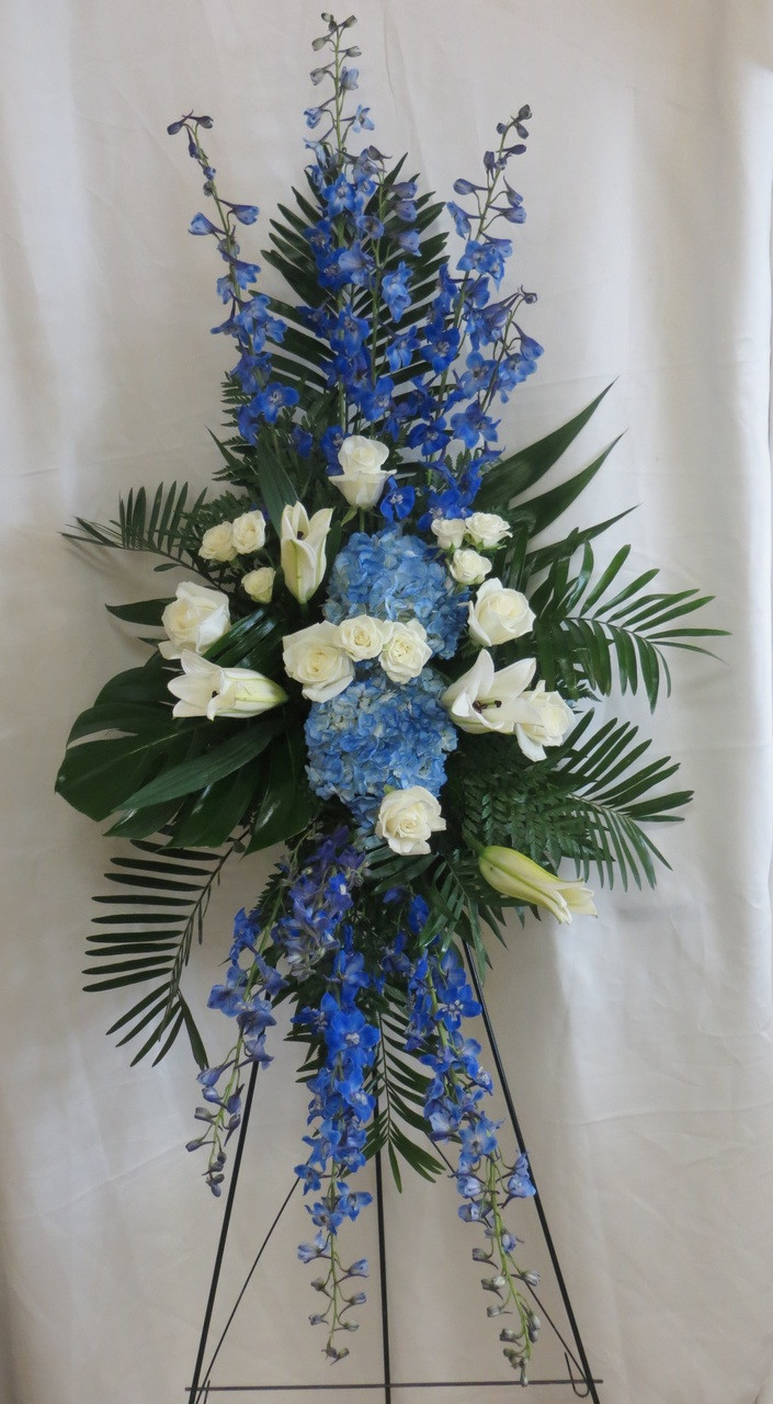 beautiful blue funeral flowers delivered in houston pasadena pearland