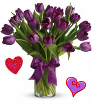 20 Purple Tulips for Valentines Day by Enchanted Florist Pasadena TX.  This twenty purple tulips are long lasting and a beautiful non traditional option for Valentines Day for when your special someone wants you to think outside the box. For the purple tulip lover in your life! RM947