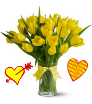20 Yellow Tulips for Valentines Day by Enchanted Florist Pasadena TX.  Twenty yellow tulips are long lasting and a beautiful non traditional option for Valentines Day for when your special someone wants you to think outside the box. And nothing is brighter or happier than yellow tulips. RM949