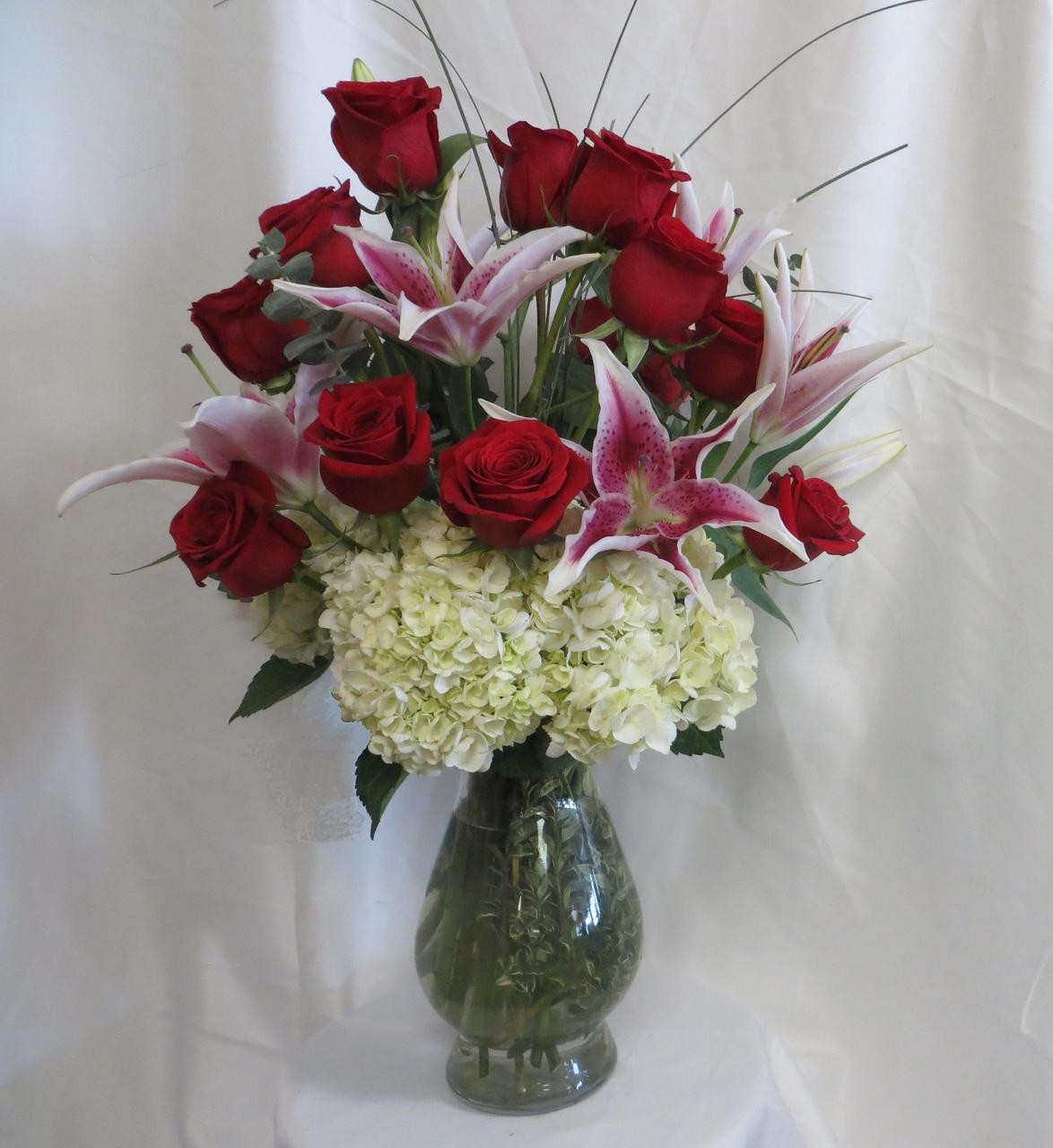 Dozen Red Roses White Hydrangeas Stargazer Lilies For