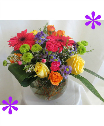 Bold and Beautiful Mother's Day Flowers by Enchanted Florist Pasadena TX is a bright enchanting bowl or roses, gerbera daisies and green kermit buttons in a traditional rose bowl. It is accented with folded leaves in beautiful bright colors sure to brighten your mother's day. A beautiful choice from your local Pasadena florist. RM801.
