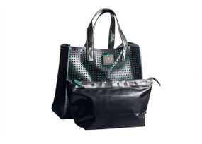 Perforated recycled dot leather & layflat handbag