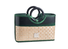 Eco Chic Recycled Beach-Style Handbag with Bamboo Handles