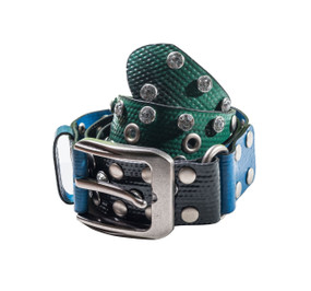 Upcycled women's belt, Heavy-duty metal buckle, studs, eyelets and rhinestones convert this upcycled layflat material into a cutting-edge belt with an eco-friendly stance! Upcycled Mixed Color Lay-flat material with rhinestones, studs and Nickel hardware!