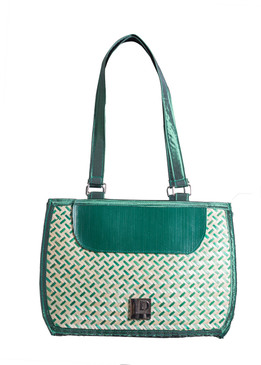 Green Bamboo Bag with Fabric Handle