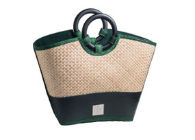 Green Criss-Cross pattern Bamboo handbag